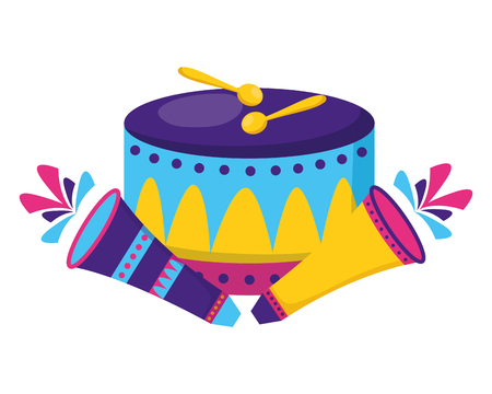 carnival drum fireworks festive vector illustration design Çizim