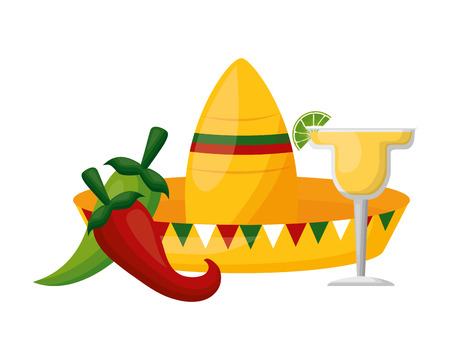 mexican hat traditional tequila and jalapeno vector illustration  イラスト・ベクター素材