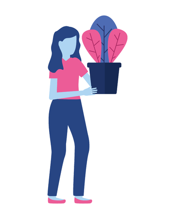 woman holding potted plant decoration vector illustration Stock Illustratie