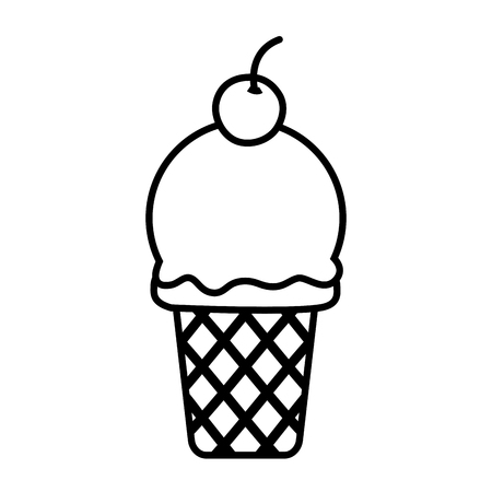 sweet ice cream on white background vector illustration Çizim