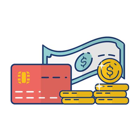 bank card money online payment vector illustration