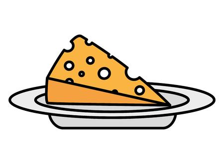 slice cheese fresh on dish vector illustration Illustration