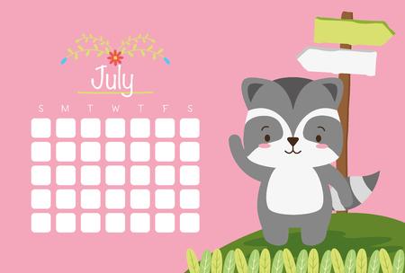 cute raccoon animal calendar cartoon vector illustration Ilustração