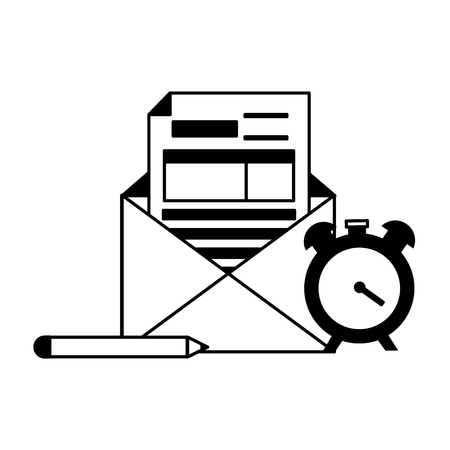 form clock pencil tax payment vector illustration Ilustração