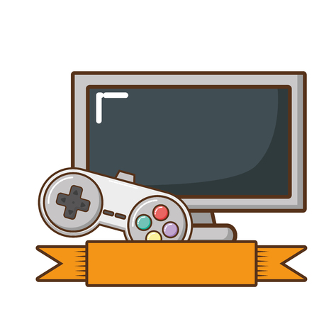 television screen and video game control vector illustration design