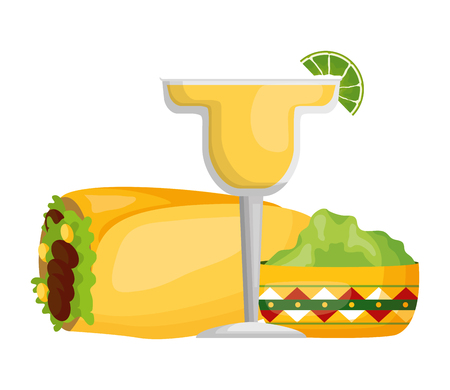 mexcian burrito tequila guacamole food vector illustration