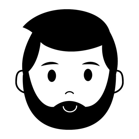 bearded man character on white background vector illustration