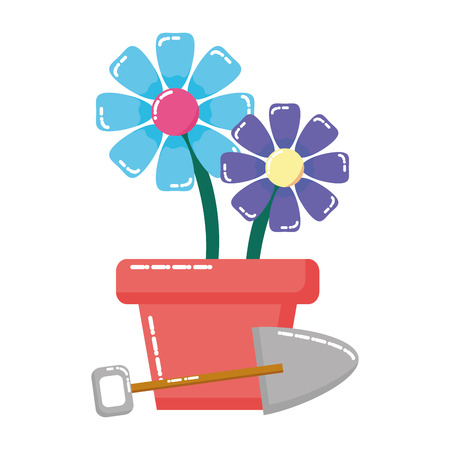 potted flowers shovel plant gardening vector illustration