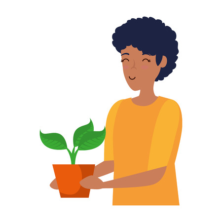 young man lifting houseplant in pot vector illustration design Banco de Imagens - 123142281