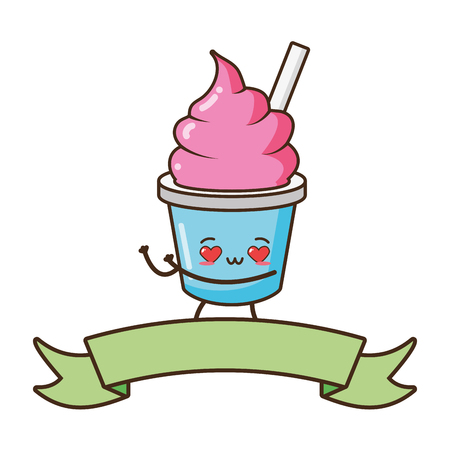 kawaii ice cream fast food cartoon vector illustration Illustration