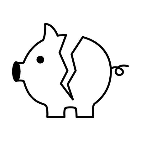 gebrochenes Sparschwein auf weißer Hintergrundvektorillustration