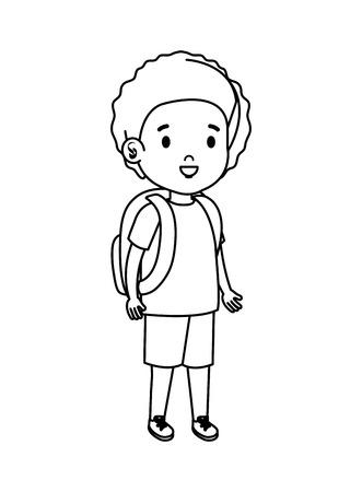 little boy kid character vector illustration design