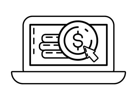 laptop money coins online payment vector illustration Illustration