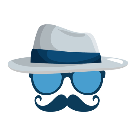 eyeglasses and mustache with tophat hipster style vector illustration design Illustration