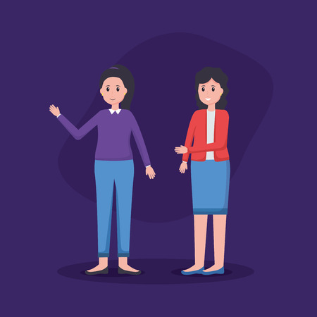 women colleagues team office vector illustration design