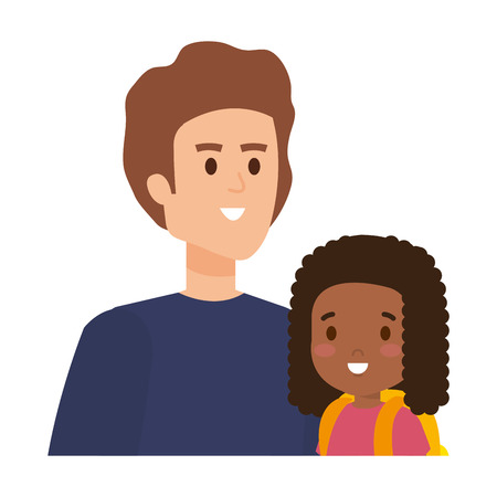 father with daughter characters vector illustration design Banque d'images - 121299381