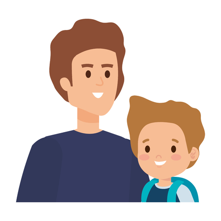 young father with son characters vector illustration design Stock Illustratie