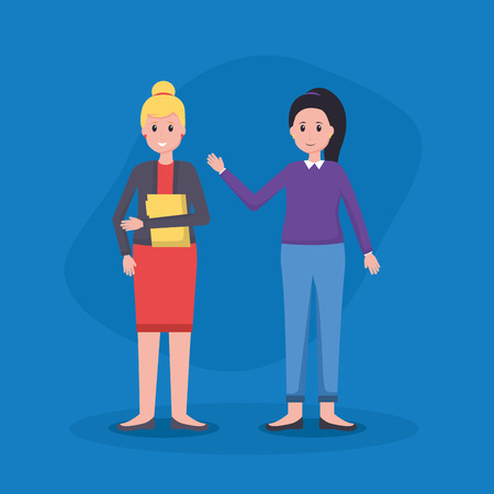 women colleagues team office vector illustration design
