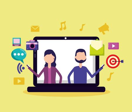 people computer mobile target email social media vector illustration Illustration