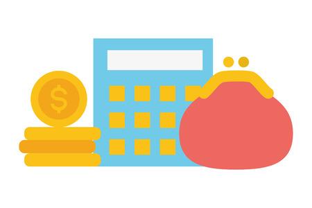 Taschenrechner Geldbörse Online-Zahlungsvektorillustration