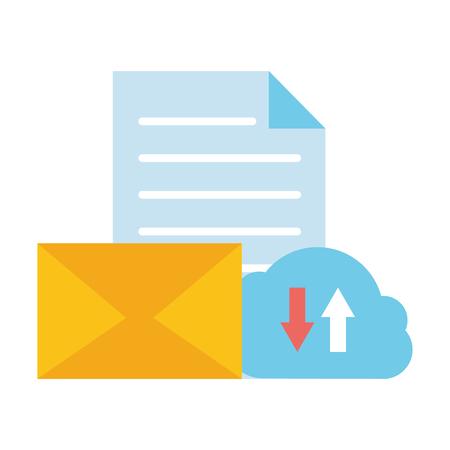 cloud computing data email download upload vector illustration