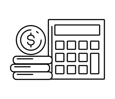 calculator coins stack online payment vector illustration Ilustração