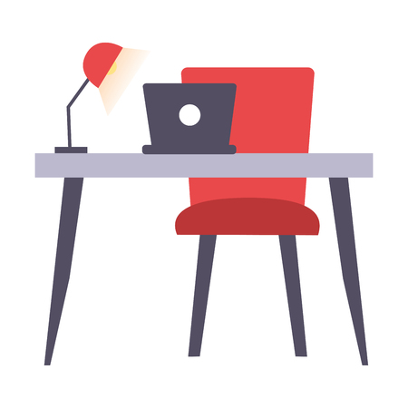 desk laptop chair lamp office workplace vector illustration