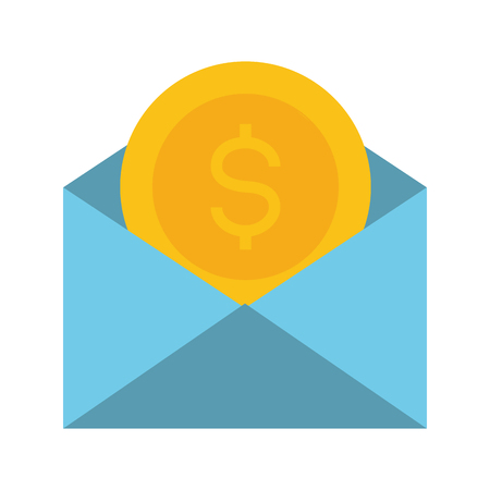 mail coin money online payment vector illustration