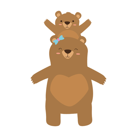mom bear and son cartoon vector illustration
