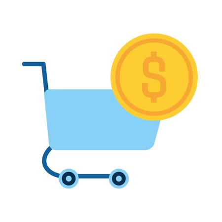 online shopping cart and money vector illustration Ilustração