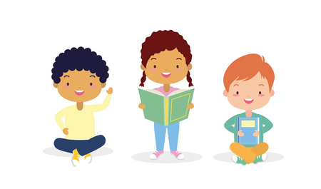 boy and girls with textbook - kids world book day vector illustration