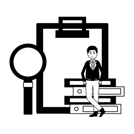 man clipboard books magnifier office workplace vector illustration 向量圖像