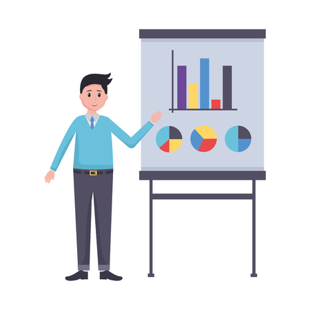 man board presentation office workplace vector illustration