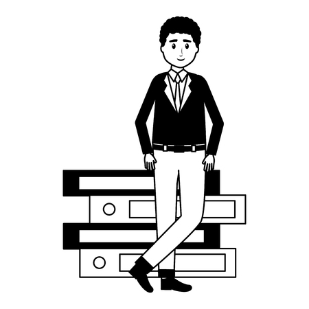 man with books stacked literature vector illustration Stockfoto - 123092917