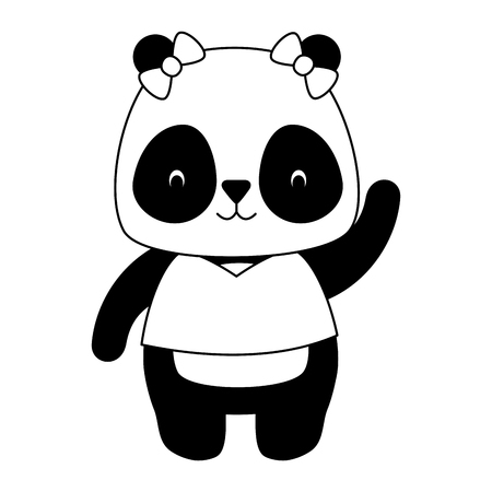 cute panda animal cartoon vector illustration design
