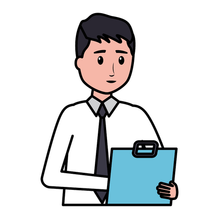 man character employee on white background vector illustration