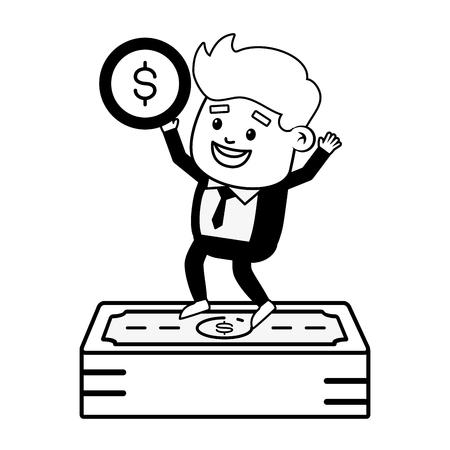 businessman with banknote money online banking vector illustration vector illustration