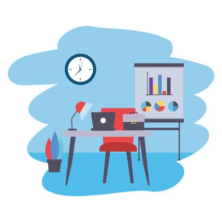 desk board laptop briefcase clock office workplace vector illustration Illustration