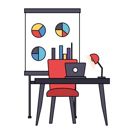 desk laptop chair board office workplace vector illustration Foto de archivo - 123092999