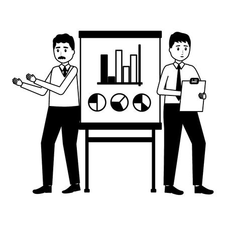 business men board presentation office workplace vector illustration