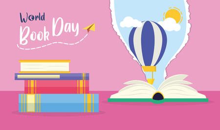 textbook air balloon sky torn paper - world book day vector illustration