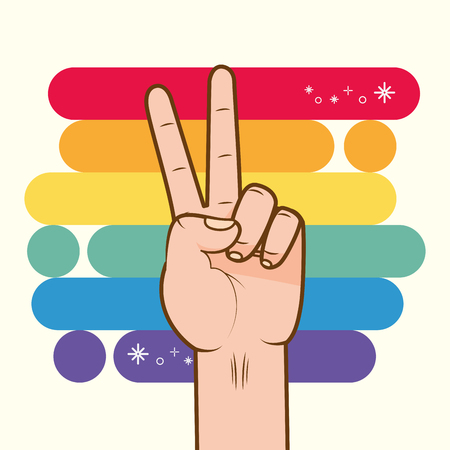 hand with rainbow colors peace and love lgbt pride love vector illustration