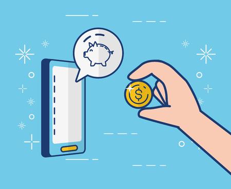 Ilustración de vector de banca en línea de aplicación de alcancía móvil