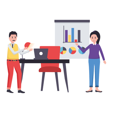 man and woman laptop desk office workplace vector illustration  イラスト・ベクター素材