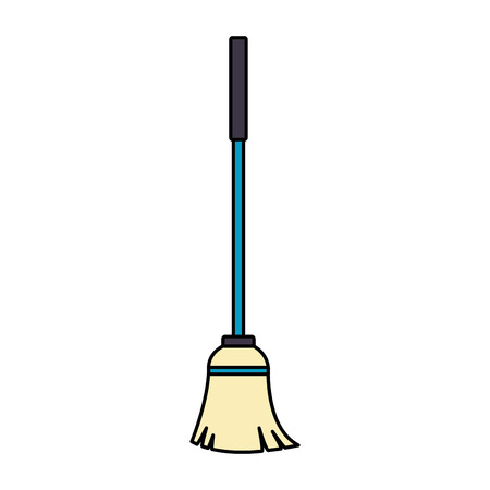 mop tool cleaning on white background vector illustration 向量圖像