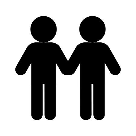pareja, diversidad, orgullo, amor, vector, ilustración