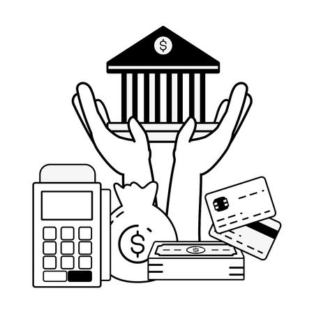 hand bank money terminal pos online banking vector illustration vector illustration Vektoros illusztráció