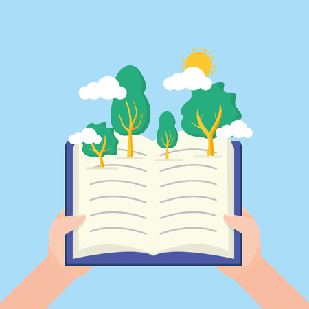 hands open book forest trees - world book day vector illustration Ilustração