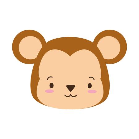 cute monkey face cartoon vector illustration design Stock Illustratie