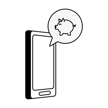 mobile piggy bank app online banking vector illustration Ilustração
